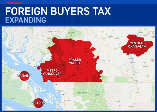 BC Foreign Buyers Tax Map